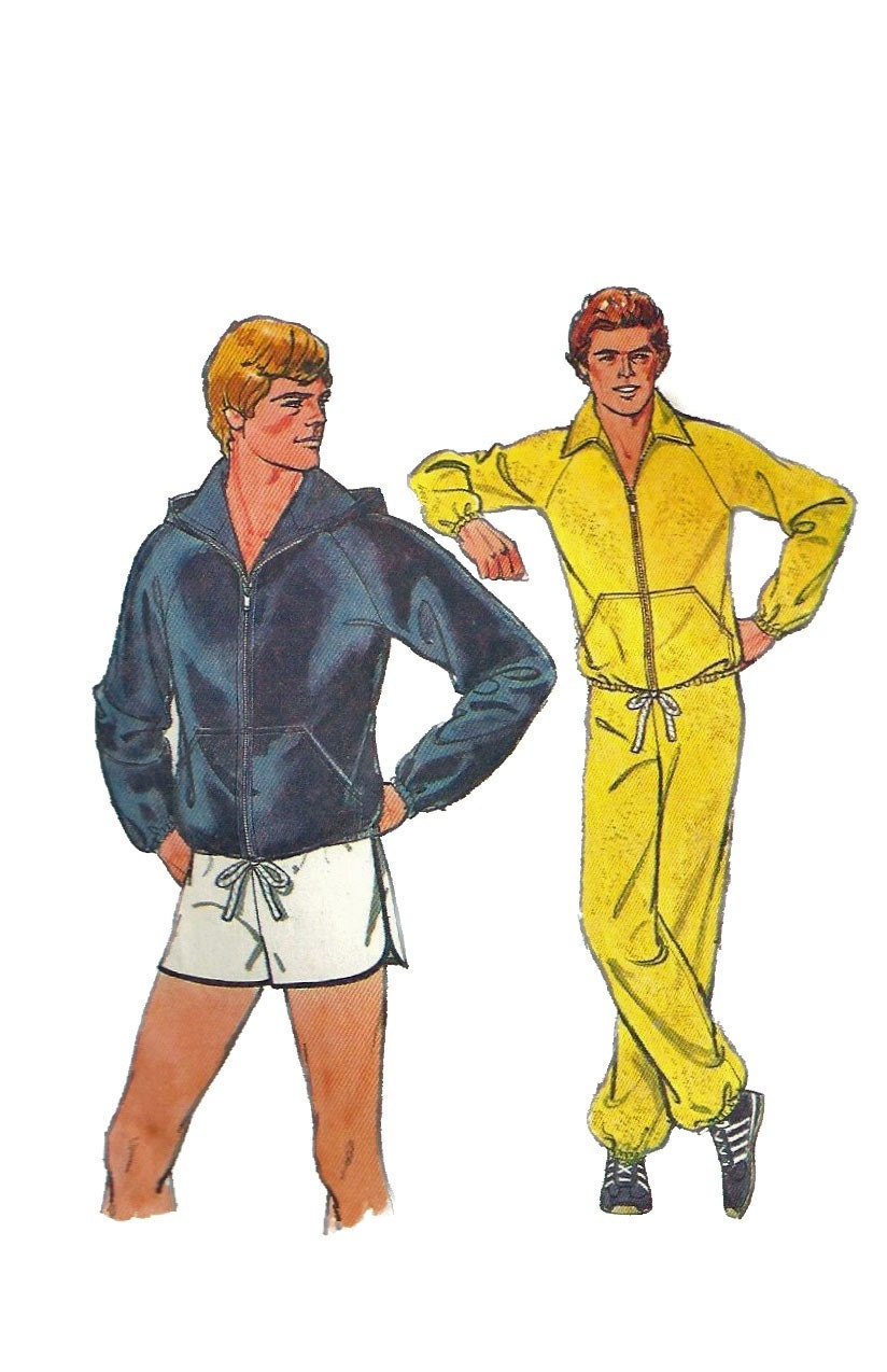 Simplicity 8360 1970s Mens Jacket Pants and Shorts Pattern Hoodie