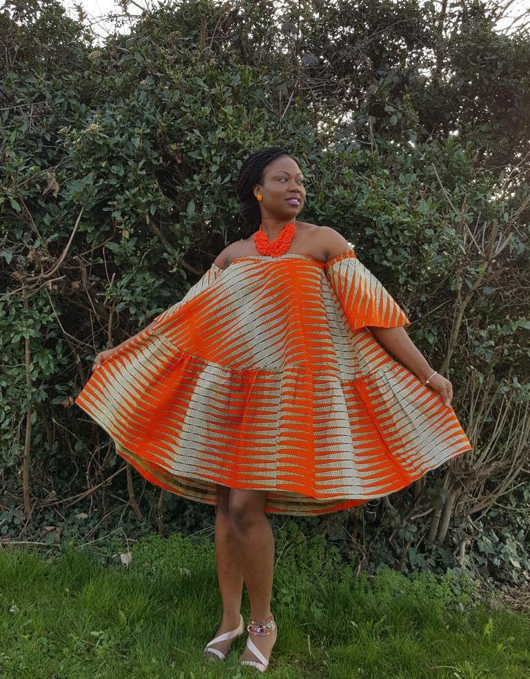 Orange  Off Shoulder Ankara Dress African Print Bardot Style Dress African print Dress