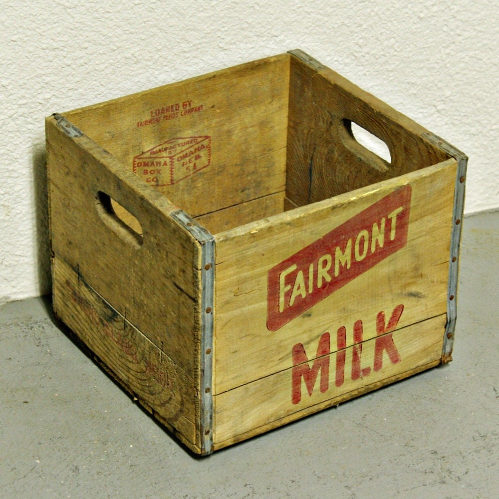 Vintage milk crate milk basket wood box wine by oldcottonwood for What to do with milk crates