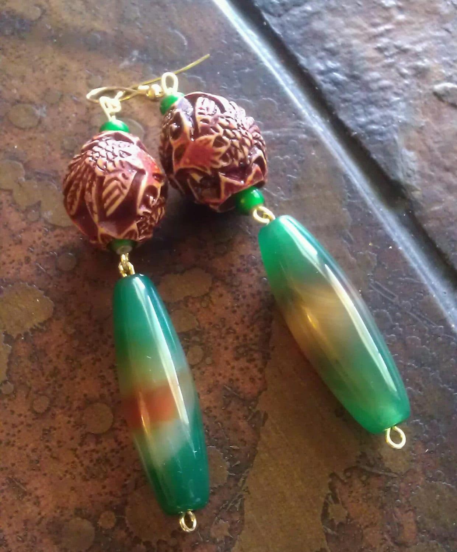 Earthy Jungle Carved Bone and Candy Jade Beaded Dangle earrings