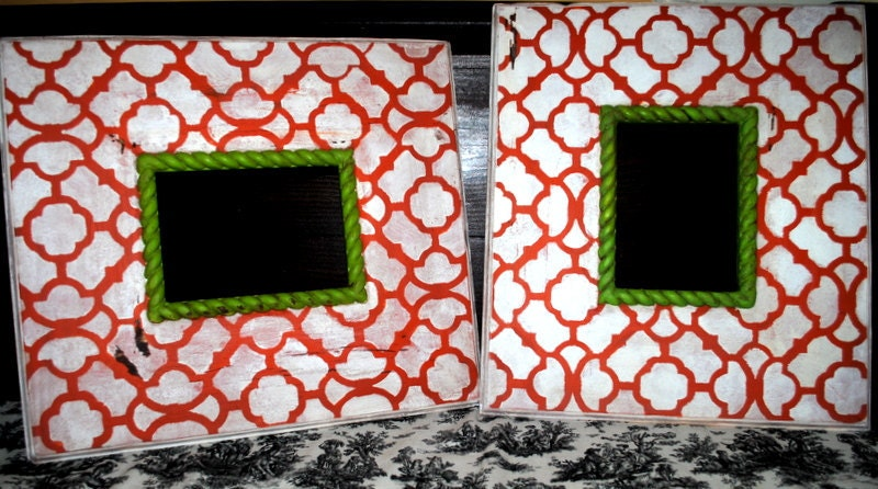 Picture frames...Pair of distressed picture frames..5x7 inch openings....Moroccan design...orange, white, chartreuse...home decor
