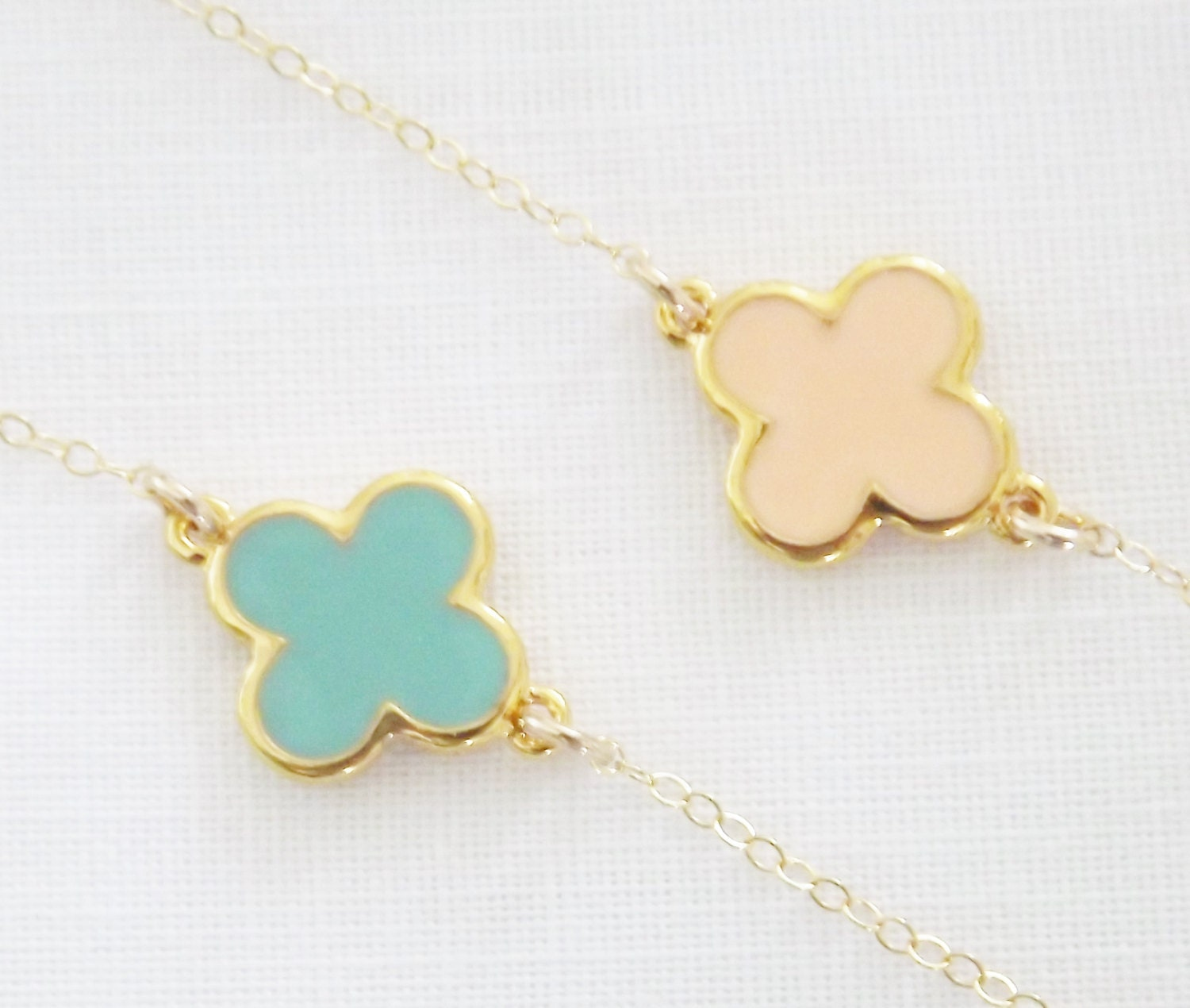Mint Green Clover Necklace - 14k Gold Filled Chain - Light Coral Peach - Quatrefoil - PinkTwig