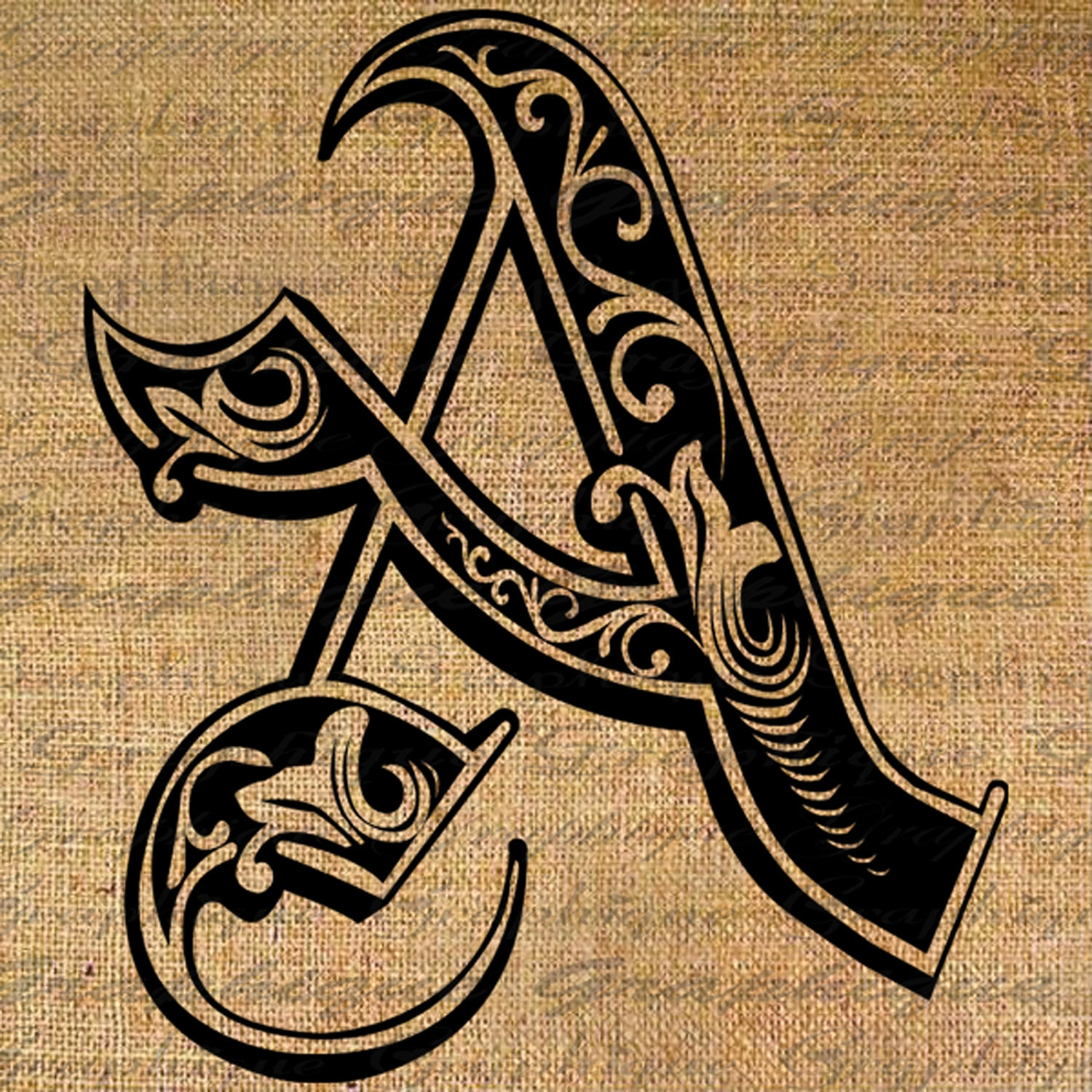 LETTER Initial A Monogram Old ENGRAVING Style Type by ...