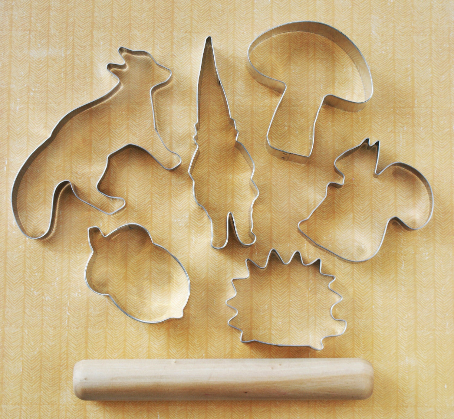 Forest Friends. Cookie Cutter Set. with mini french-style rolling pin.