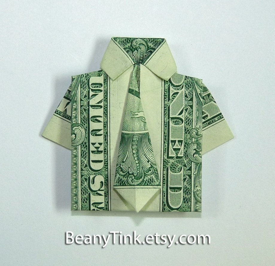 items similar to dollar origami dress shirt with tie on etsy