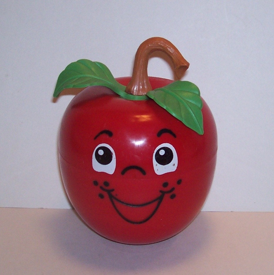 Vintage Fisher Price Happy Apple Toy Red with a by BarnFlyVintage