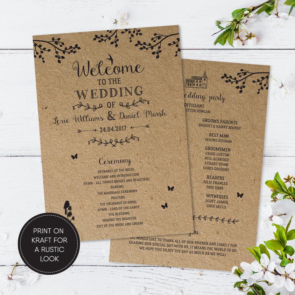 Wedding Programme Printable Ceremony Programme Wedding Order of Service Printable PDF Rustic Custom Download Lexie Suite 03108