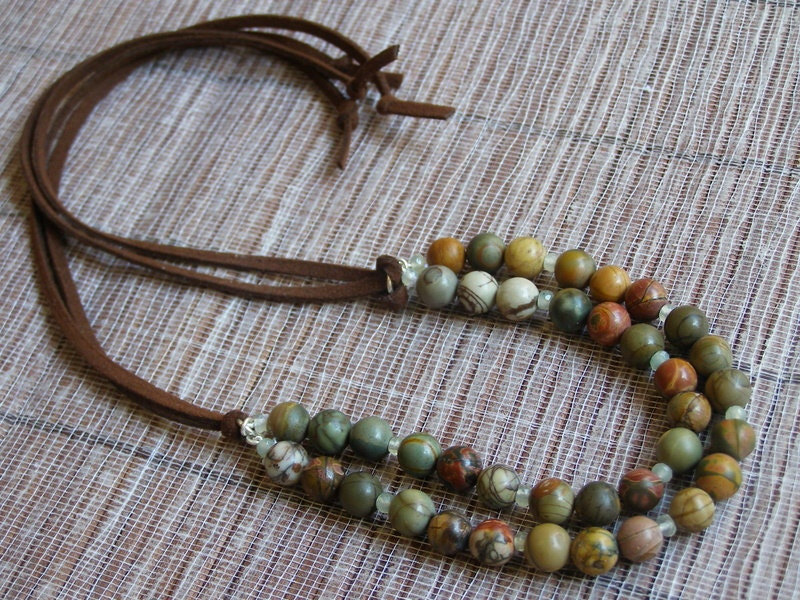 Jasper Picasso double string on suede casual necklace MADE TO ORDER handmade Israel