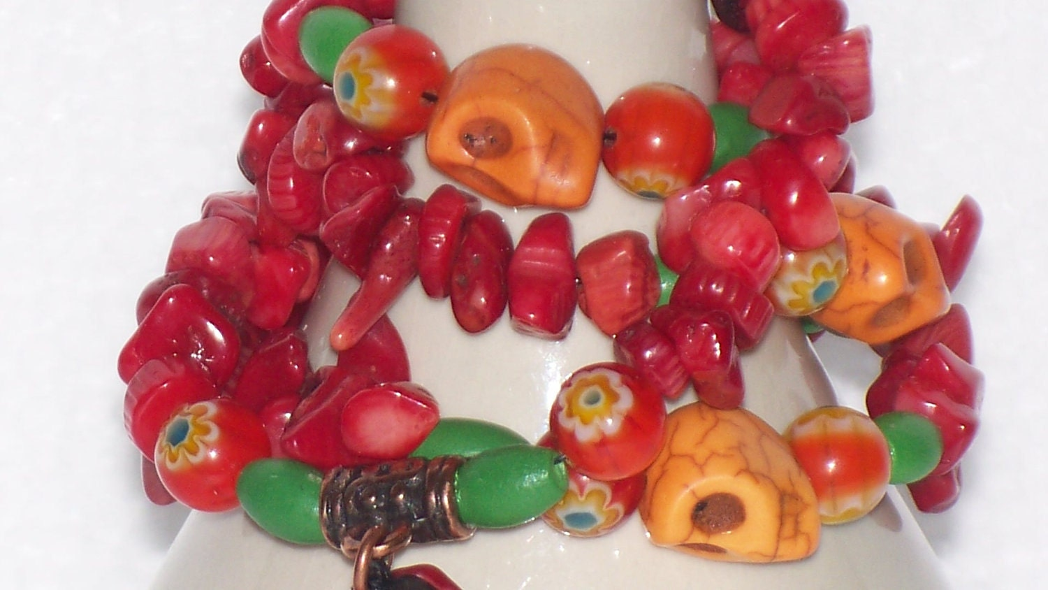Red Coral Mala with Orange Skulls  - FREE SHIPPING