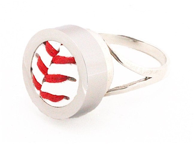 sterling silver baseball ring made using a real by