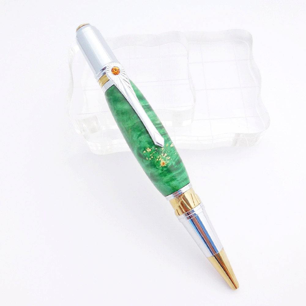 Art Deco Ball Point Pen in Green, Guest Book Pen - GECKOWOODWORKING