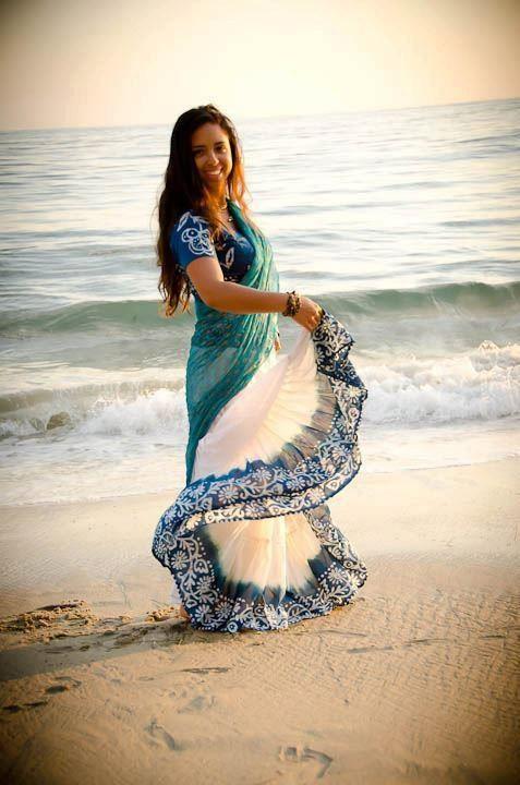 Indian Batik Skirt - Sea Blue - GopiSkirts
