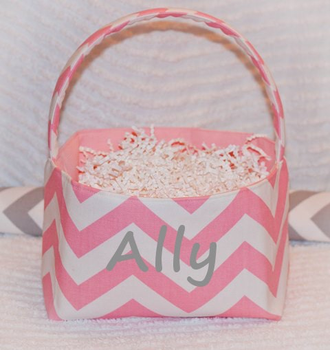 Pink Chevron Fabric Easter Basket or Storage Bin...FREE Monogramming