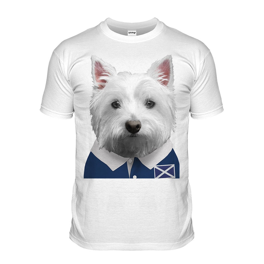 Scotland Rugby Tshirt Westie Tshirt Scottish Puppy Top Scotty Dog Grand Slam Shirt Funny Animal Cute Fashion Womens Mens Kids Scott Thistle