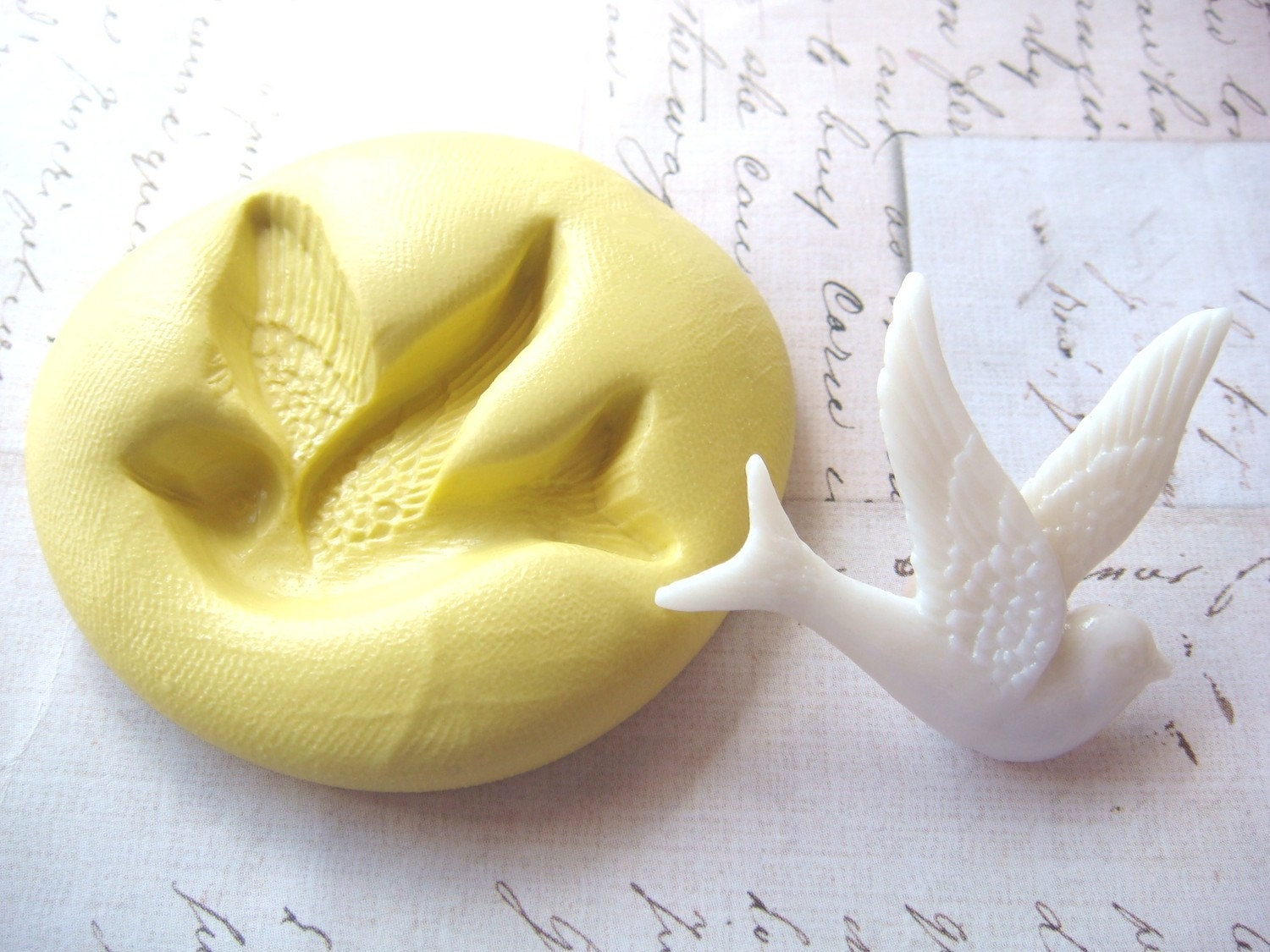 BLUEBIRD -  Flexible Silicone Mold - Push Mold, Polymer Clay Mold, Resin Mold, Pmc Mold, Supplies, Crafting Mold - Molds