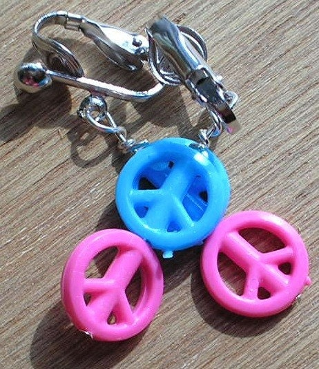 kids clip on earrings peace pink and blue by amystreasures on etsy. Black Bedroom Furniture Sets. Home Design Ideas