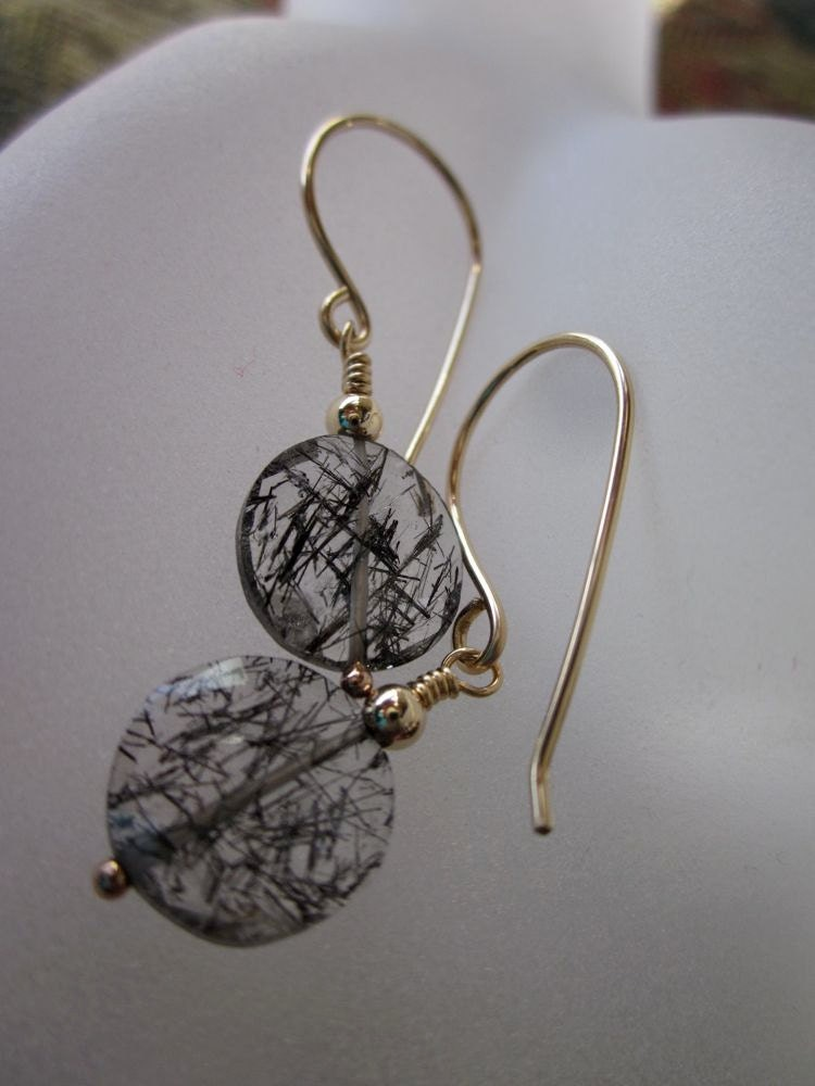 Black Rutilated Quartz Coins, 14 Karat Gold Fill-Golden Moon Earrings