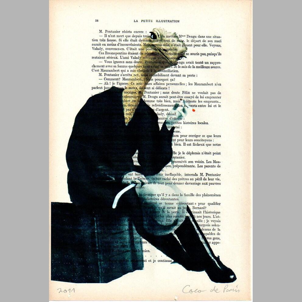 """Jetset страуса заседание - подлинные произведения искусства Mixed Media, Ручная роспись на 1920 Parisien Журнал """"La Petit Иллюстрация"""" Коко де Пари"""