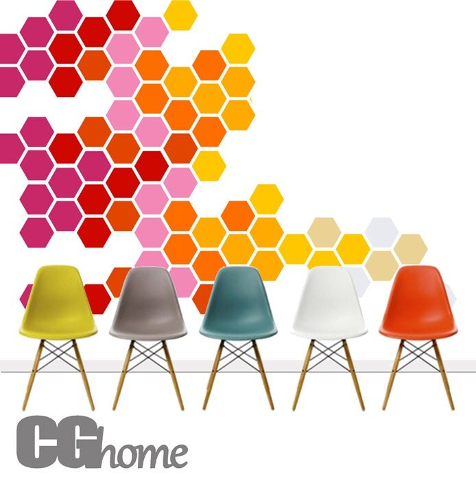 HEXAGON geometric honeycomb COLORFUL wall decal MODERN vinyl at home - CGhome