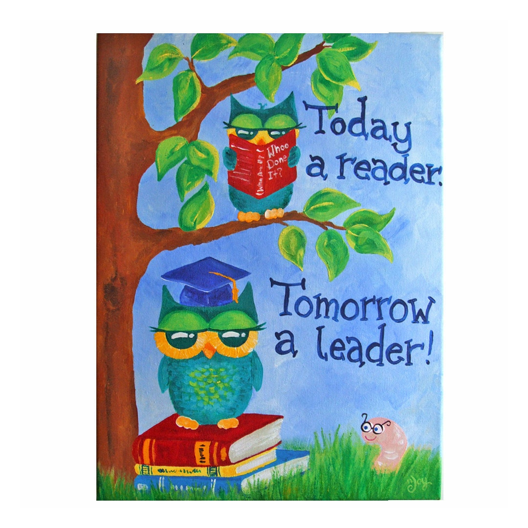 Art for Kids, Today a READER Tomorrow a LEADER, Owls,12x16 Canvas, Inspirational Art, Child's Room Decor, Classroom Art - nJoyArt