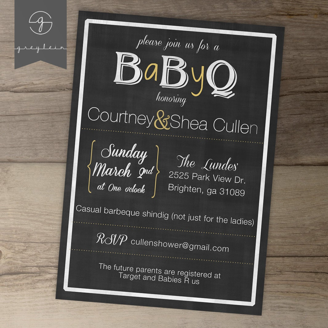 babyq baby shower invitation guy friendly co ed bbq baby shower