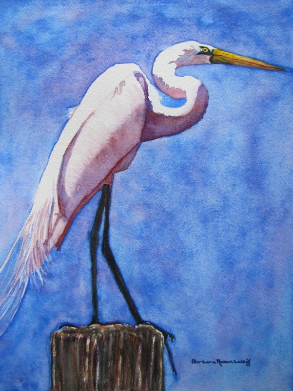 White egret beach bird painting shore by barbararosenzweig for White heron paint