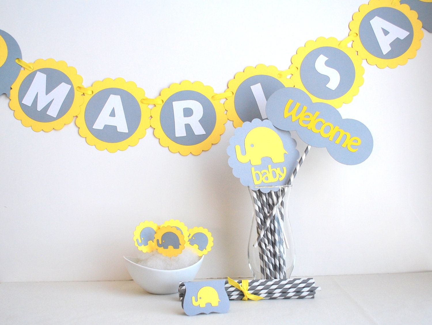 Baby Shower Party set, Grey and Yellow Baby Shower elephant party set , banner, centerpiece, cupcake toppers and more MariaPalito A461