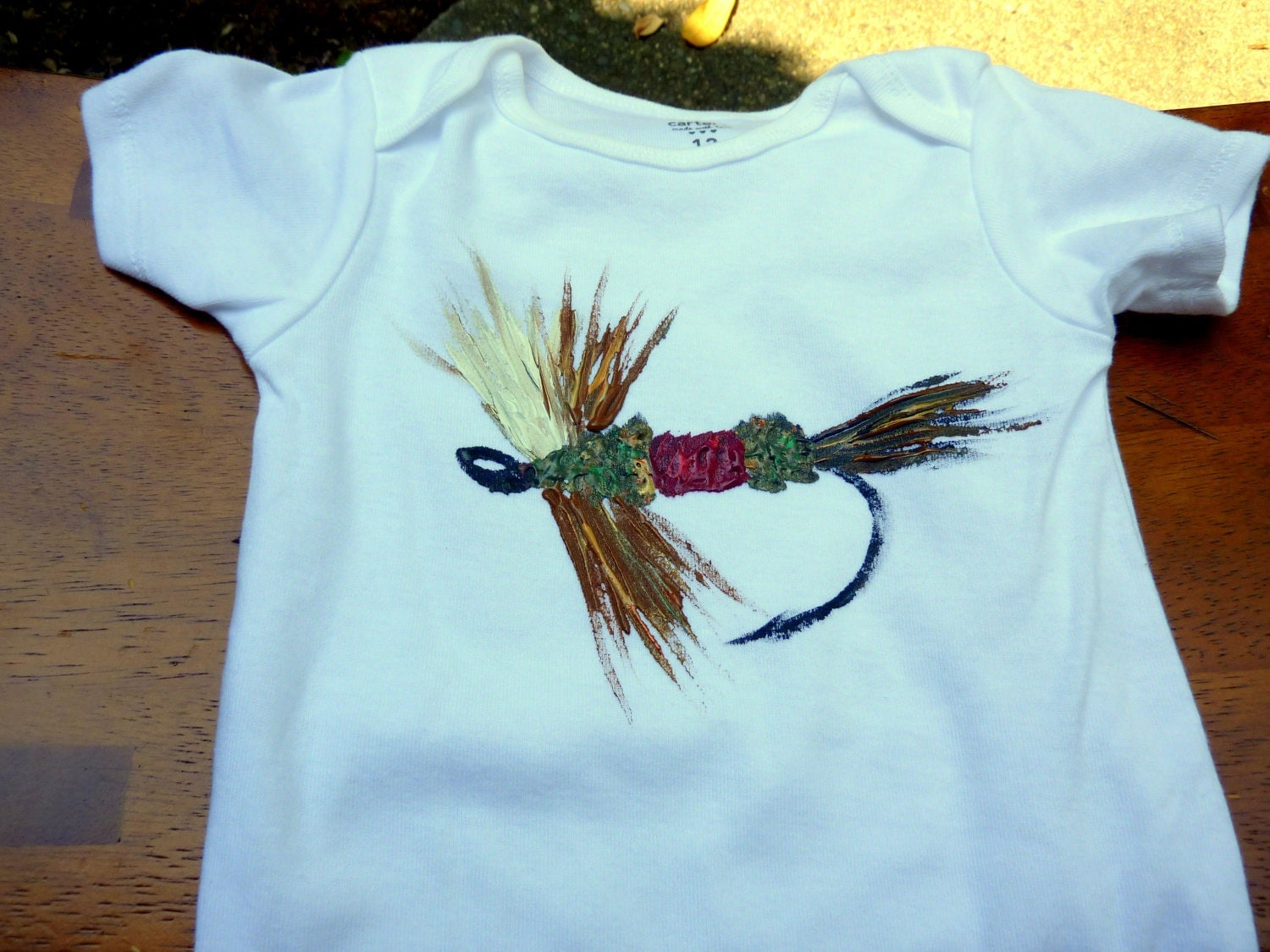 Items Similar To Baby Fly Fishing Onesie Hand Painted Fly