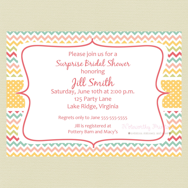 Printable Bright Colors Chevron Bridal Shower Invitation