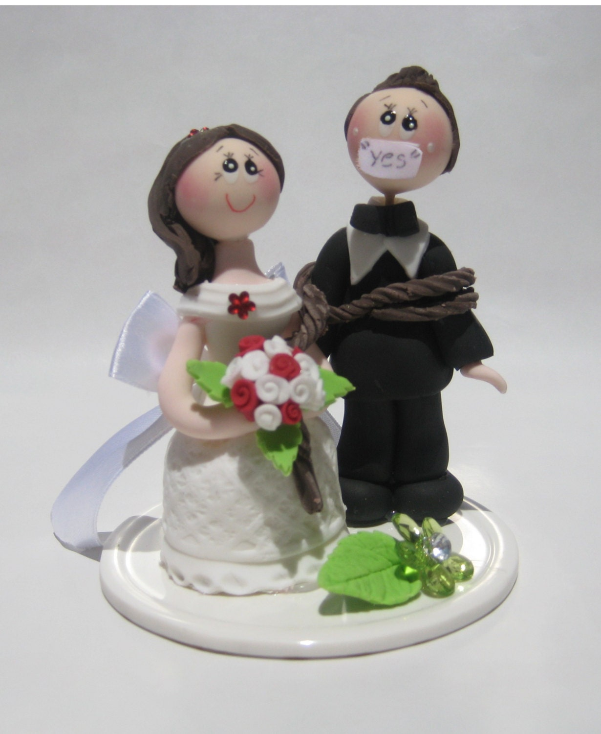 Funny wedding cake topper, funny cake topper, funny topper, groom tied up by bride
