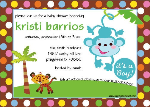 jungle theme baby shower invitation with animals by mypaperinvites