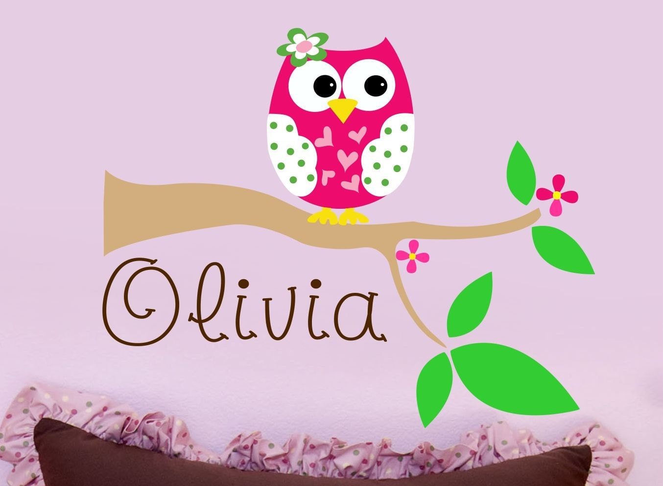 Owl wall decal personalized nursery wall decal owl by lucylews for Decoration chambre bebe hibou