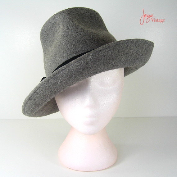gray fedora hat womens fedora by jacquievintage