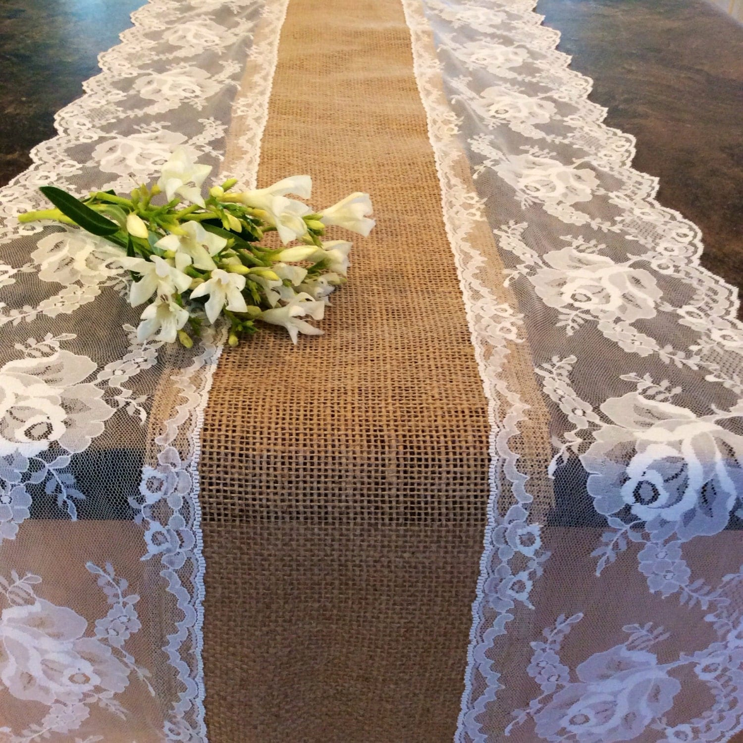 10ft burlap lace table runner light ivory by lovelylacedesigns for 10 foot table runner
