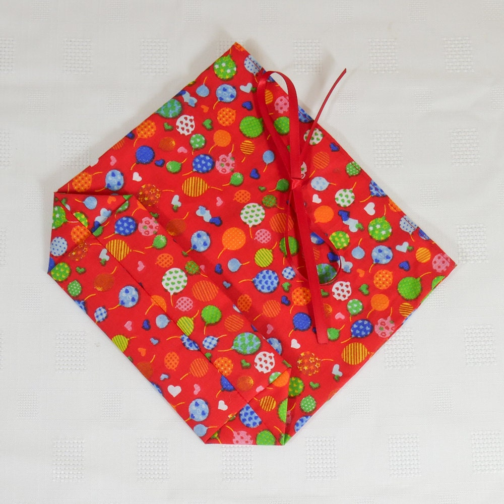 Fabric gift bag unlined small in red balloon design with ribbon tie top