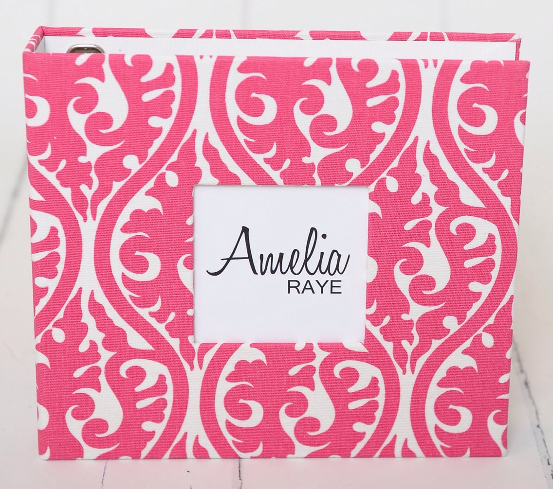 Baby Book - Pink Damask - 88 Journaling Pages - Choose Color or Grey and Black - Personalization Included - TheSweetRhino