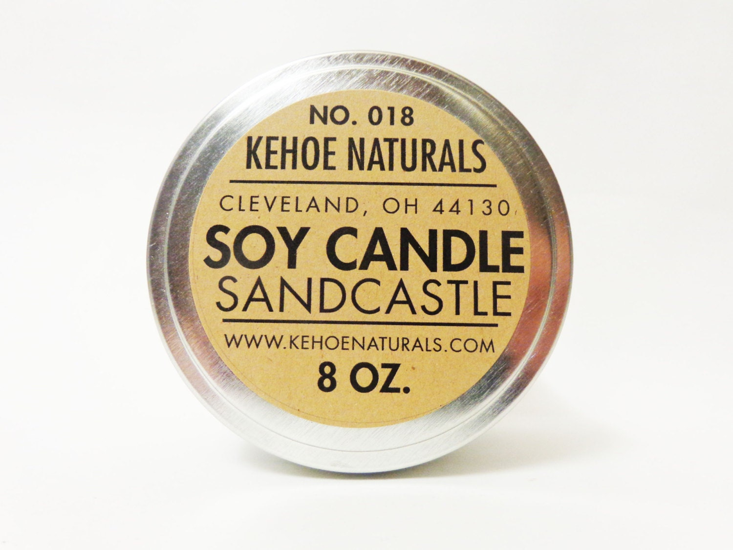 No. 18 Sandcastle -  All Natural Soy Candle  -  8oz tin - KehoeNaturals