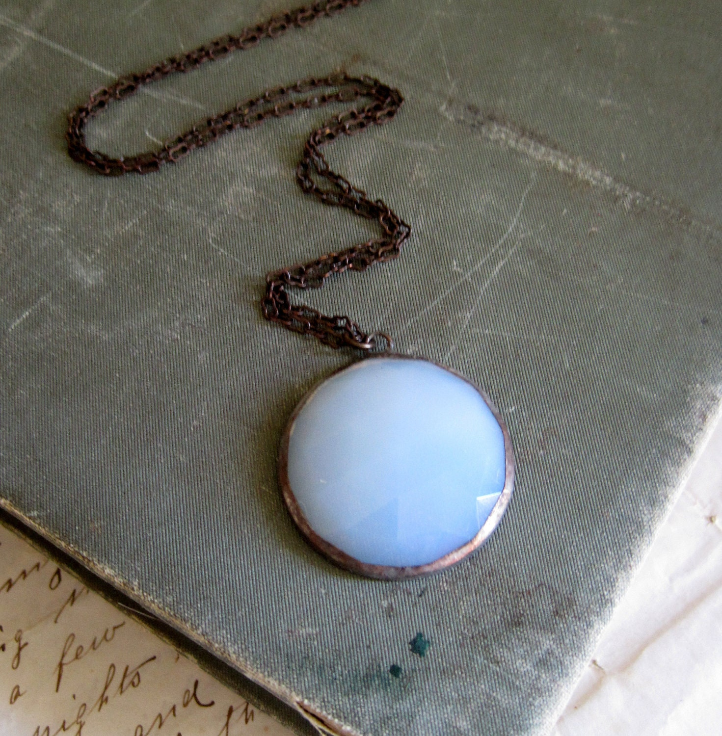 Moon Shine White Faceted Glass Necklace Jewelry - ThatOldBlueHouse2