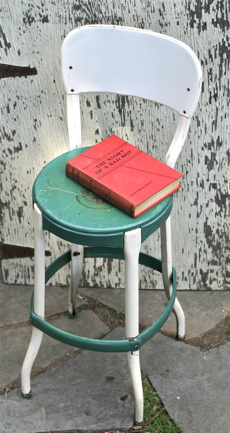 circa 1950s shabby metal kitchen chair white green by