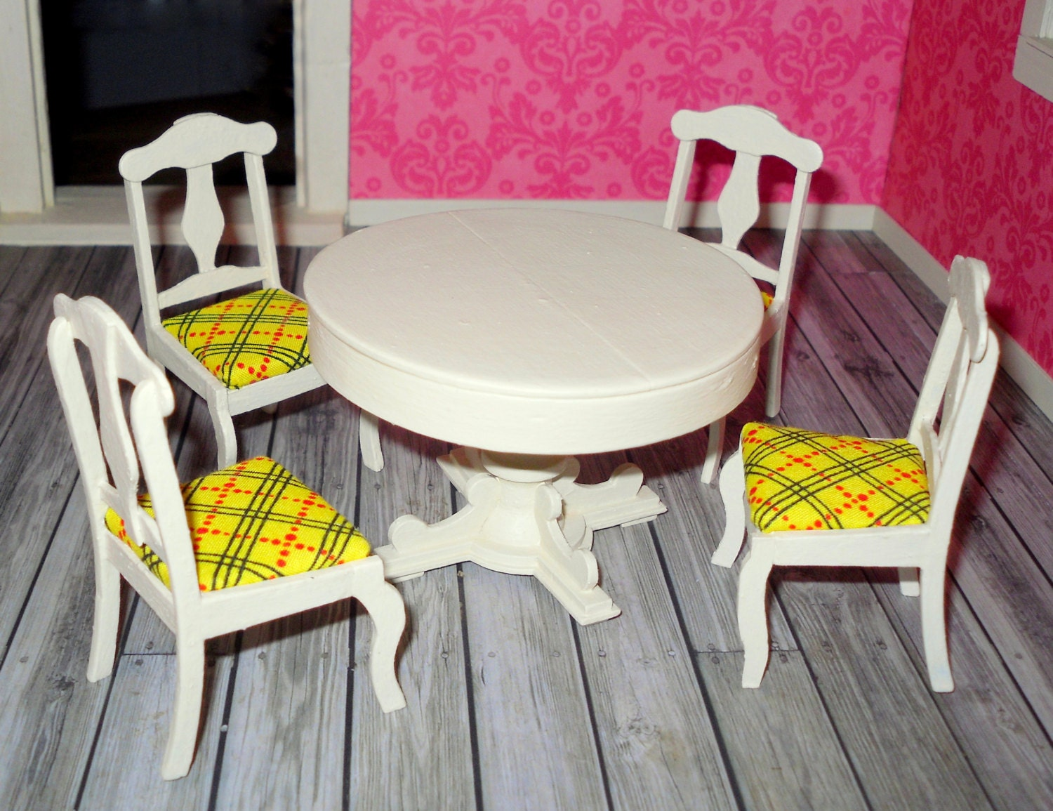 Miniature dollhouse vintage upcycled wooden dining by for Upcycled dining table