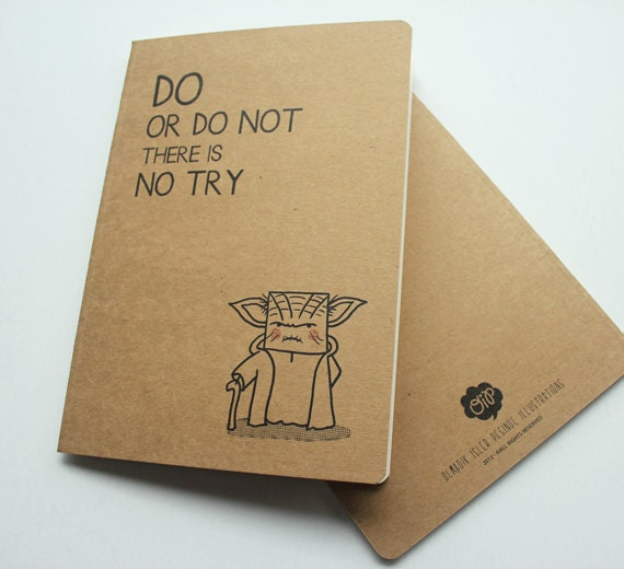 Yoda inspired Notebook (star wars, movie, master yoda, quote, cute, gift)