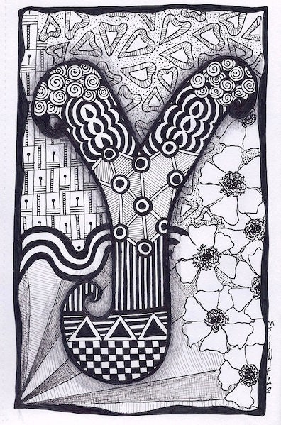 Items Similar To Zentangle Letter Y Zebra Letters Name Bunting On