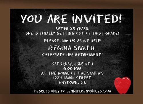 Chalkboard Teacher Retirement Party Invitation by nounces ...