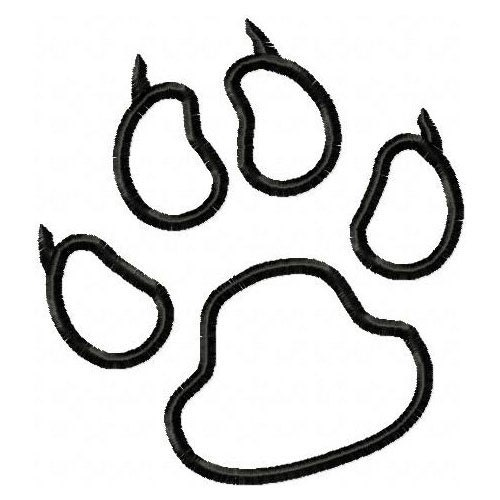 Tiger paw print outline for Tiger paw coloring page