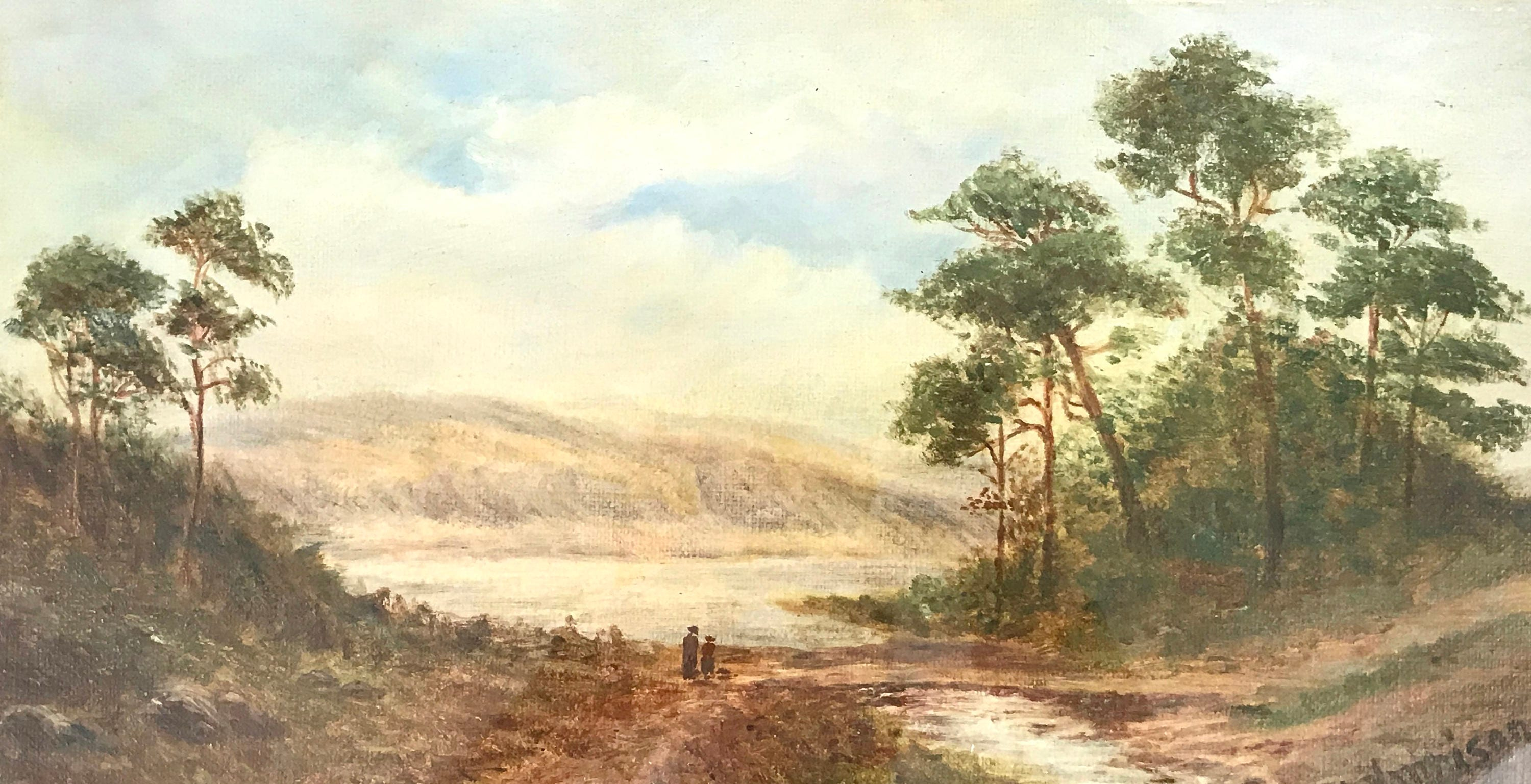 Image of Antique Framed Painting, Oil on Board, M Harrison, Lakeland Landscape, 19th Century, Home Decor, Traditional Painting, Wall Feature, Unique