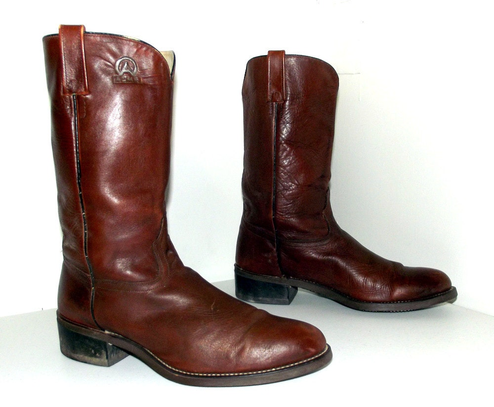 brown leather acme cowboy boots size 12 d by