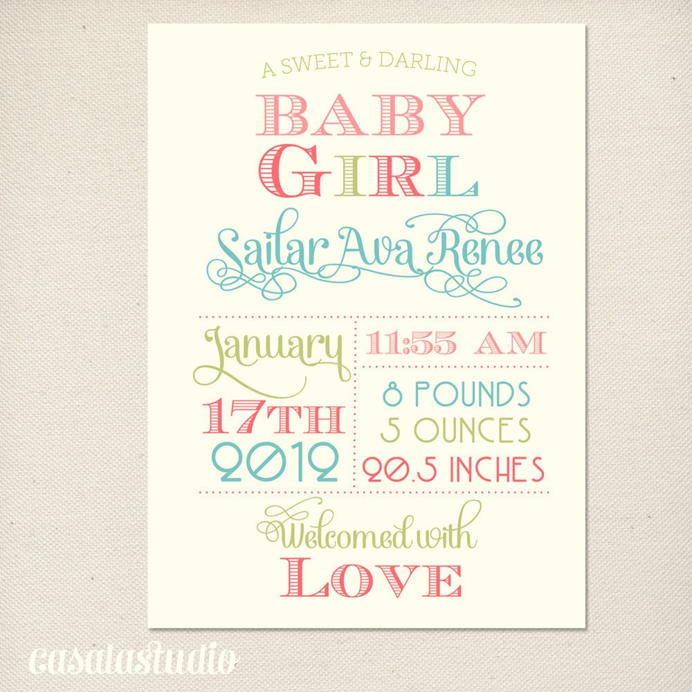 Fanciful Girls Nursery Wall Art Print Birth Announcement PRINTABLE