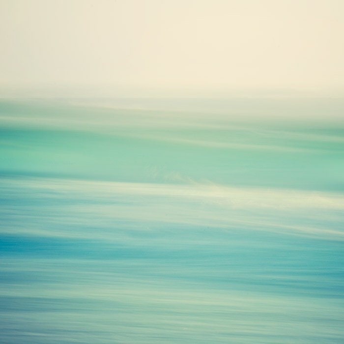 Ocean photograph - Wave abstract - Swish 2 - Minimal seascape in calming blue green tones