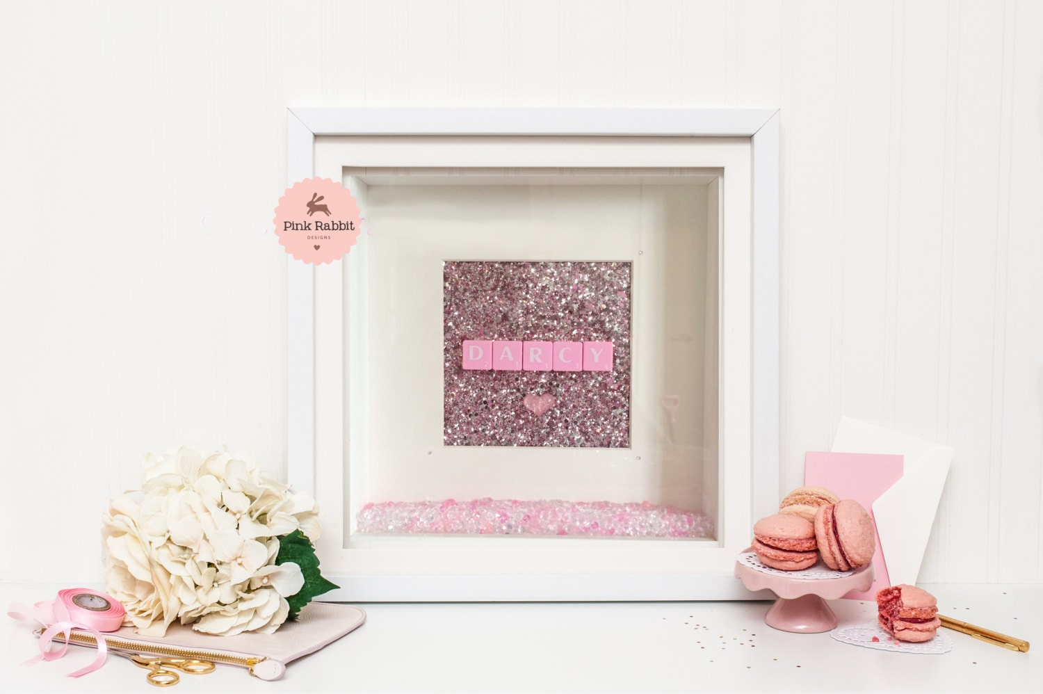 Framed Scrabble Wall Art With Glitter Fabric  Swarovski Crystals Personalised Childrens Gift Scrabble Letter Name Gift Pink Wall Art