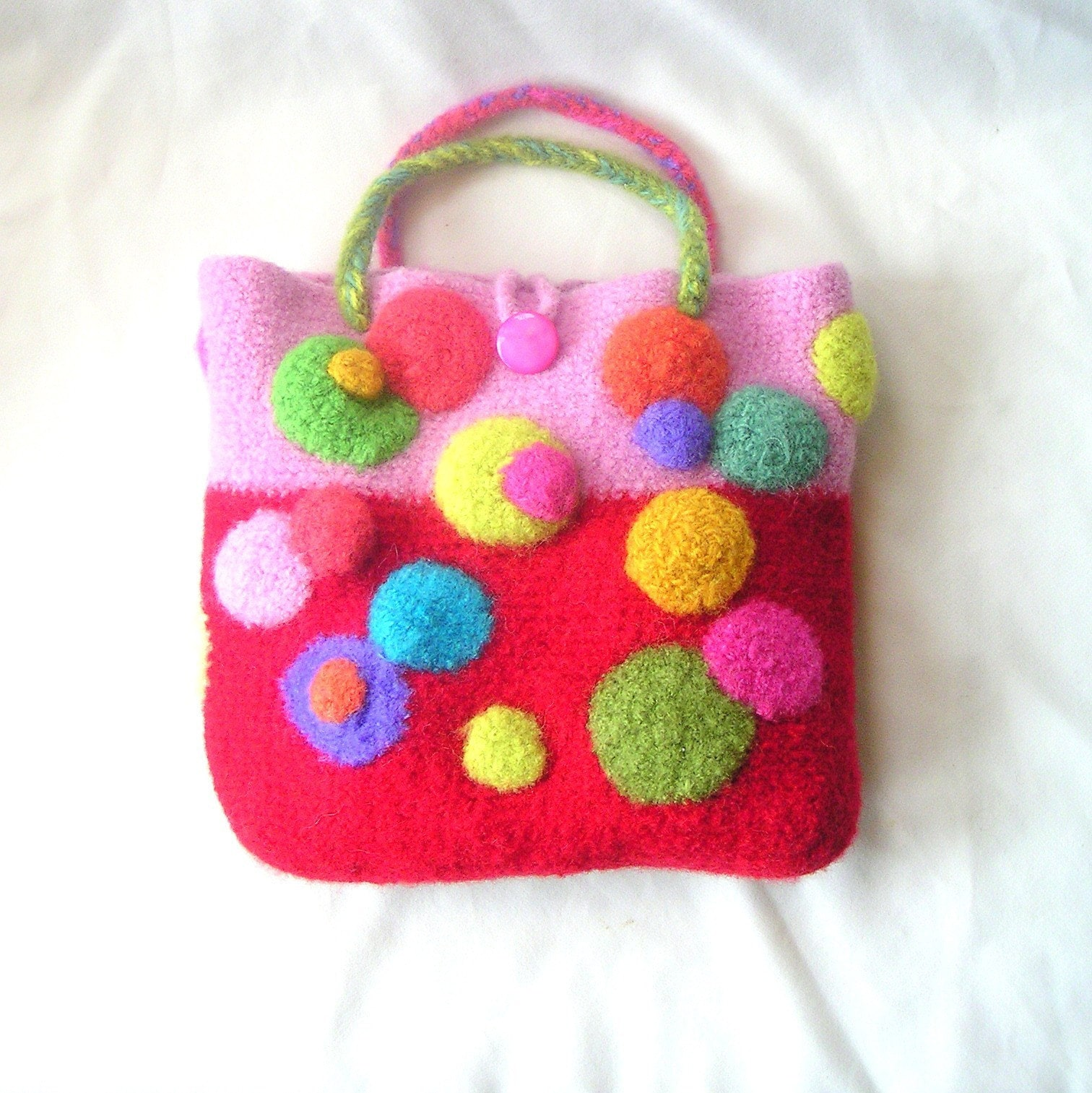Easy Felted Crochet Bag Pattern : Cutest Circle Bag EASY Crochet Felted by GraceKnittingPattern